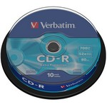 Verbatim CD-R 700MB 52x, cakebox, 10ks