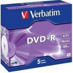 Verbatim DVD+R 4,7GB 16x, AZO, jewel, 5ks
