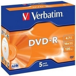 Verbatim DVD-R 4,7GB 16x, AZO, jewel, 5ks